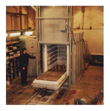 Изготовлена электропечь с выдвижным подом СДО-9.19.10/11-И1 мощностью 150 кВт с рабочей температурой до 1100 °С, предназначенная для нагрева и промышленной термообработки крупногабаритных изделий